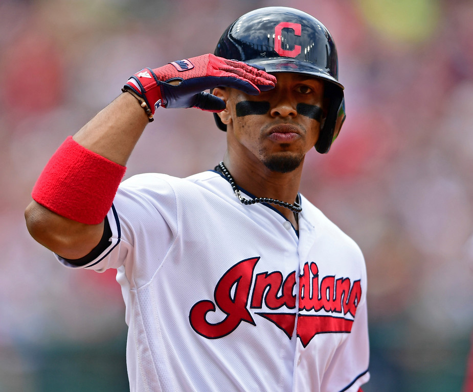 . Cleveland Indians\' Francisco Lindor gestures as he runs the bases after hitting a two-run home run off Detroit Tigers starting pitcher Matthew Boyd in the fourth inning of a baseball game, Sunday, June 24, 2018, in Cleveland. (AP Photo/David Dermer)