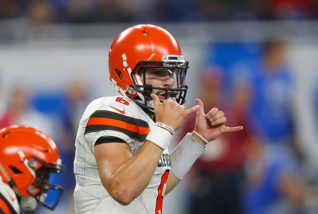 . Cleveland Browns quarterback Baker Mayfield signals during the first half of an NFL football preseason game against the Detroit Lions, Thursday, Aug. 30, 2018, in Detroit. (AP Photo/Paul Sancya)