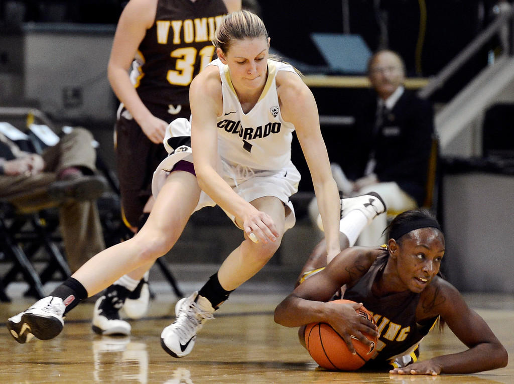 . Colorado\'s Lexy Kresl, top, fights for a loose ball with Wyoming\'s Chelan Landry during their NCAA college basketball game, Wednesday, Nov. 28, 2012, in Boulder, Colo. (AP Photo/The Daily Camera, Jeremy Papasso)