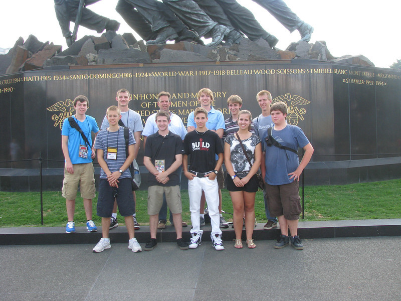 Cabot and the Dist 2'ers in front of the Iwo Jima monument (back) Jon, Nick, Cabot, Luke, Chris, Ian (front) Peter, Chris, Connor, Whitney and Dan