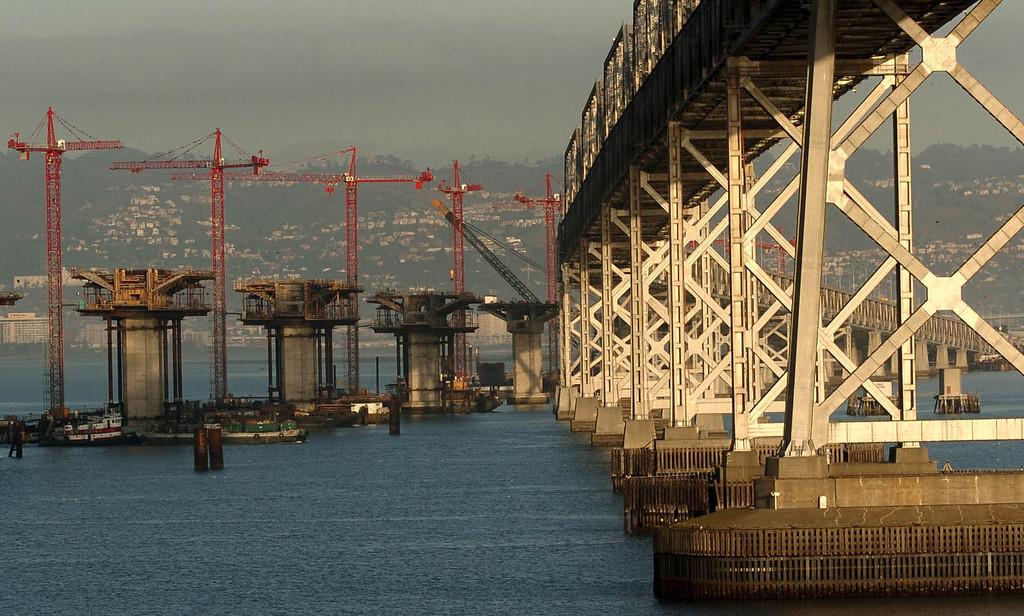 . December 9, 2004 photographs of Bay Bridge eastern span replacement construction shot from Yerba Buena Island.  (Contra Costa Times/Karl Mondon)