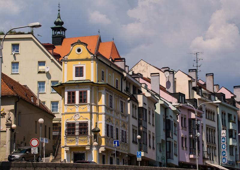 Narrow, colorful hourse, Bratislava, Slovakia