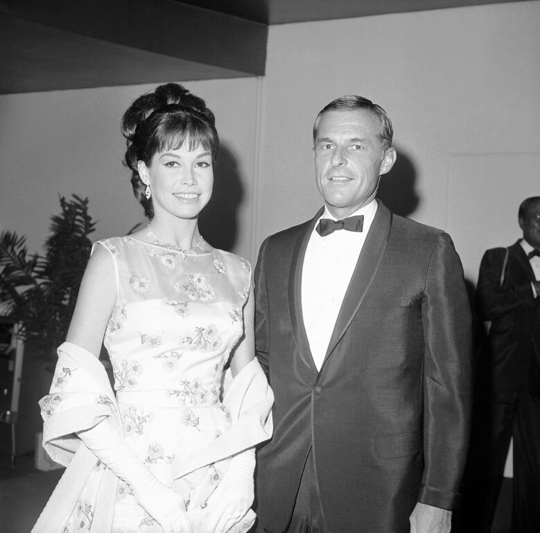 . Mary Tyler Moore and husband Grant Tinker arriving for Emmy Awards, May 22, 1966 in Hollywood, Los Angles. (AP Photo/DFS/HPM)