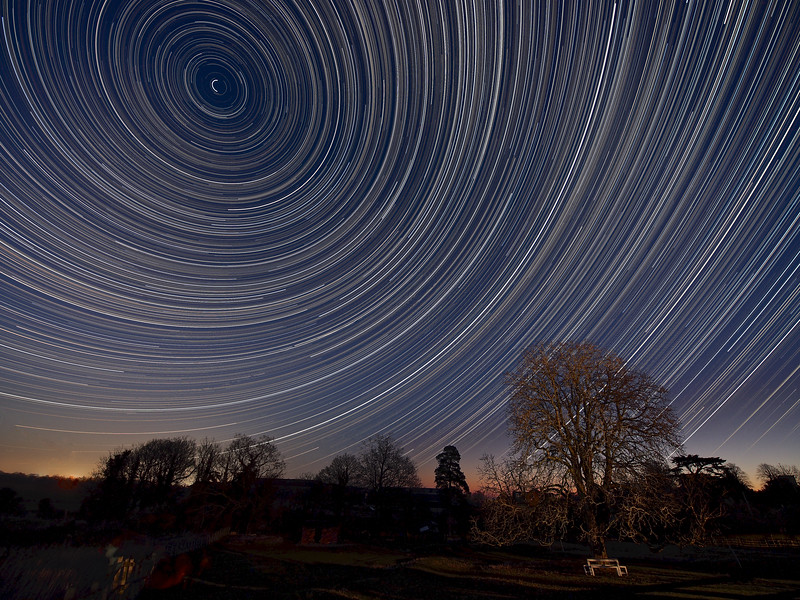 Warm winter star trail