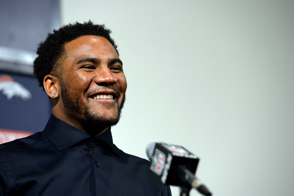 . Denver Broncos T.J. Ward smiles during a press conference March 12, 2014 at Dove Valley. The Broncos have agreed to terms with former Cleveland Browns strong safety T.J. Ward, who is coming off a Pro Bowl season. Ward will sign a four-year contract for $23 million � with $14 million guaranteed. (Photo by John Leyba/The Denver Post)