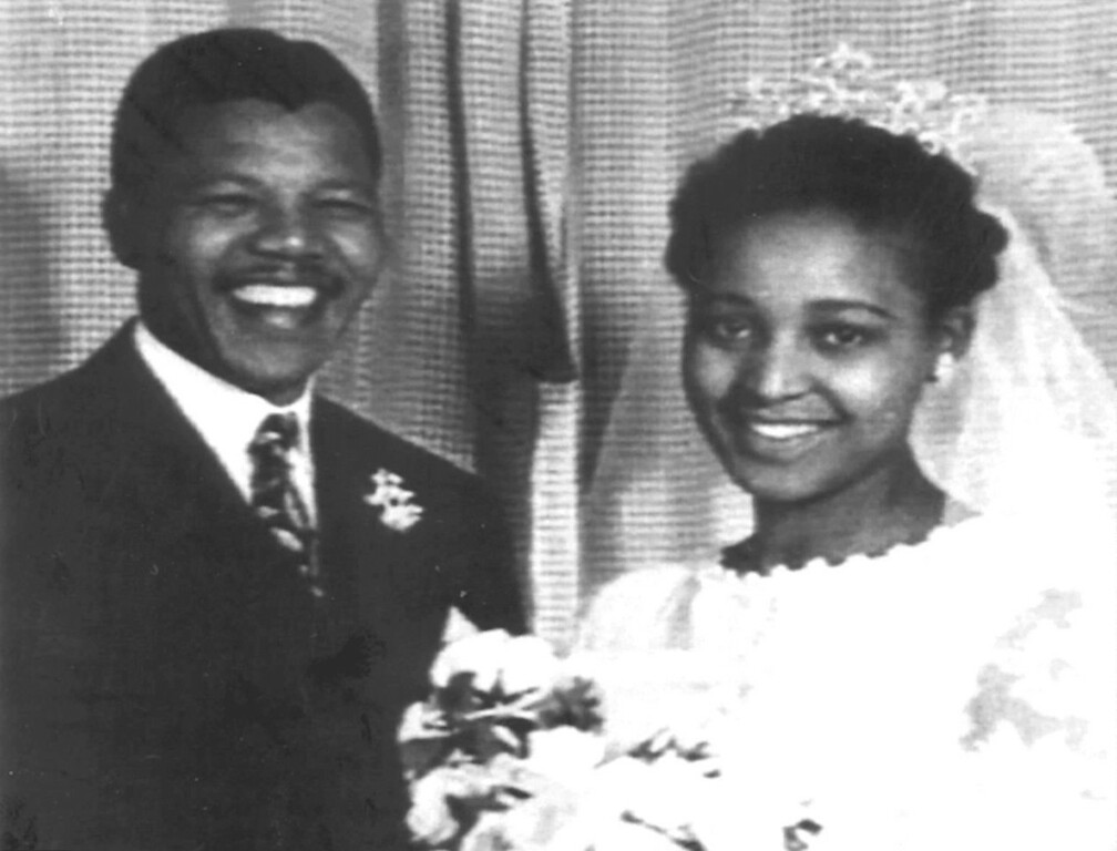 . JOHANNESBURG, SOUTH AFRICA - JANUARY 1:  File photo of South African National Congress (ANC) leader Nelson Mandela and his then-wife Winnie at their wedding in 1957. This copy was taken from the family album the original was by Alf Khumalo.  (ALF KHUMALO/AFP/Getty Images)