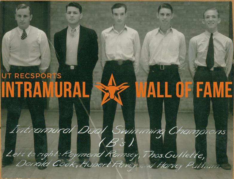 "SWIMMING Intramural Dual Champions  ""B's""  Raymond Ramsey, Thomas Gullette, Donald Cook, Hubert Ravey, Harvey Pulliam"