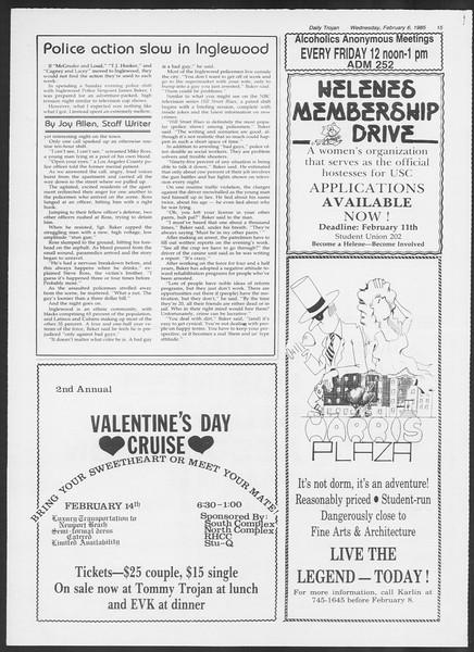 Daily Trojan, Vol. 98, No. 19, February 06, 1985