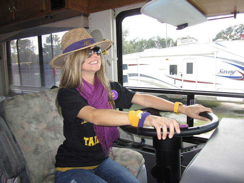 10/1/2011 ECU vs North Carolina  Jen at the wheel of the RV