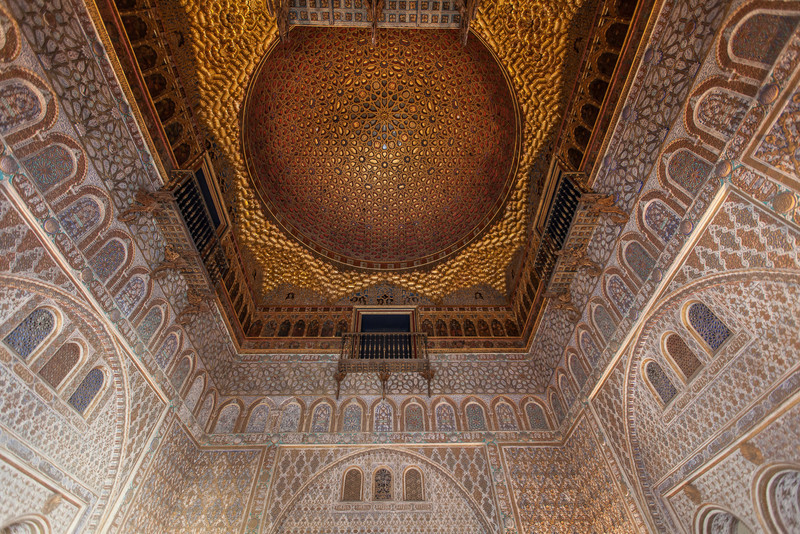 Beautiful ceiling inside the Alcázar.