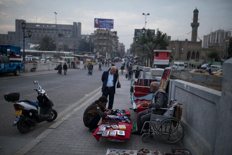 A seller on Shuhada (Martyrs) Bridge, Central Baghdad.