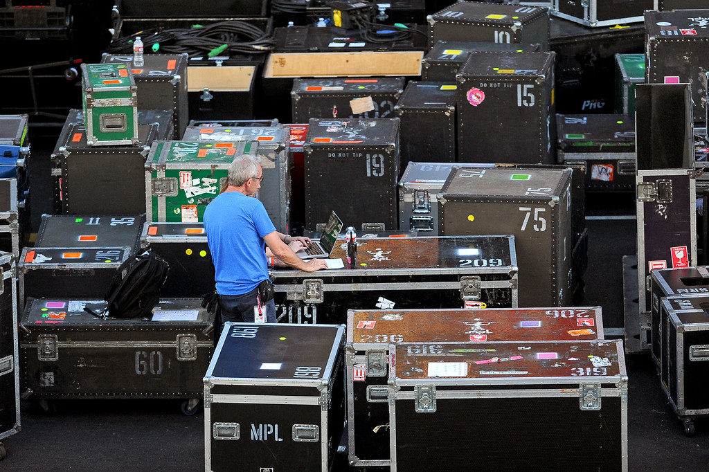 . Equipment crates fill Hollywood Blvd as Paul McCartney takes the stage for a performance in Hollywood, CA Monday, September 23, 2013.  A portion of Hollywood Boulevard will be closed from Highland to Orange through Wednesday morning to make way for two concerts planned for �Jimmy Kimmel Live.� (Andy Holzman/Los Angeles Daily News)