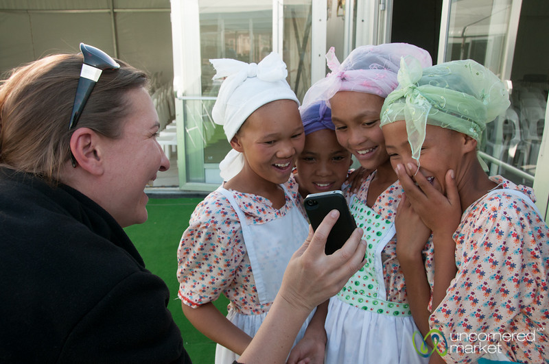 Audrey Shows Photo to Girls - Northern Cape, South Africa