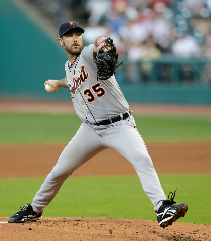 . Detroit Tigers starting pitcher Justin Verlander delivers in the first inning of a baseball game against the Cleveland Indians, Wednesday, Sept. 3, 2014, in Cleveland. (AP Photo/Tony Dejak)