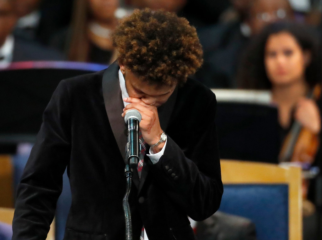 . Jordan Franklin pauses while speaking about his grandmother, Aretha Franklin, during the funeral service for the legendary singer at Greater Grace Temple, Friday, Aug. 31, 2018, in Detroit. Franklin died Aug. 16, 2018 of pancreatic cancer at the age of 76. (AP Photo/Paul Sancya)