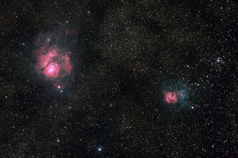 Messier M8 - NGC6523 - Gum 72 - Lagoon Nebula and Cluster, Messier M20 - NGC6514 Trifid Nebula - 26/8/2011 - Dark Sky site near Wagin (Processed stack)