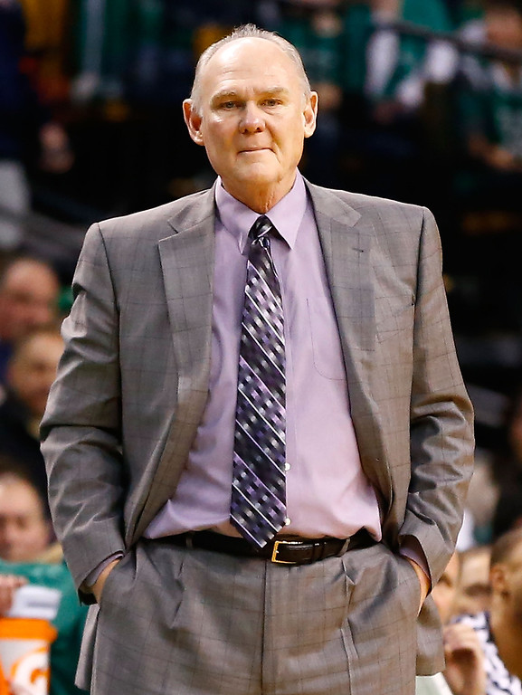 . BOSTON, MA - FEBRUARY 10: Head coach George Karl watches his team play against the Boston Celtics during the game on February 10, 2013 at TD Garden in Boston, Massachusetts.  (Photo by Jared Wickerham/Getty Images)