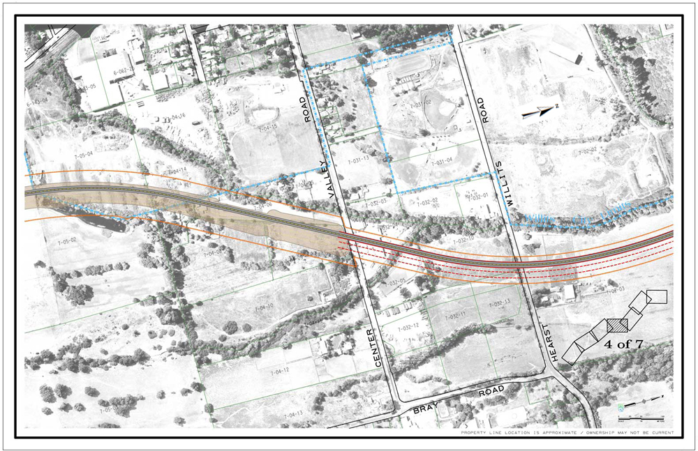 . CalTrans drawing showing the southern end of the viaduct at Valley Street of the Willits bypass project.