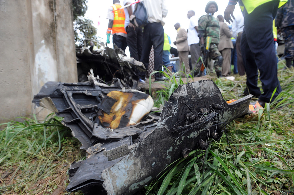 . This picture taken on October 3, 2013 shows remains of an Associated Airlines plane that crash-landed at Sahara Airport shortly after takeoff in Lagos. AFP PHOTO/ PIUS UTOMI EKPEI /AFP/Getty Images
