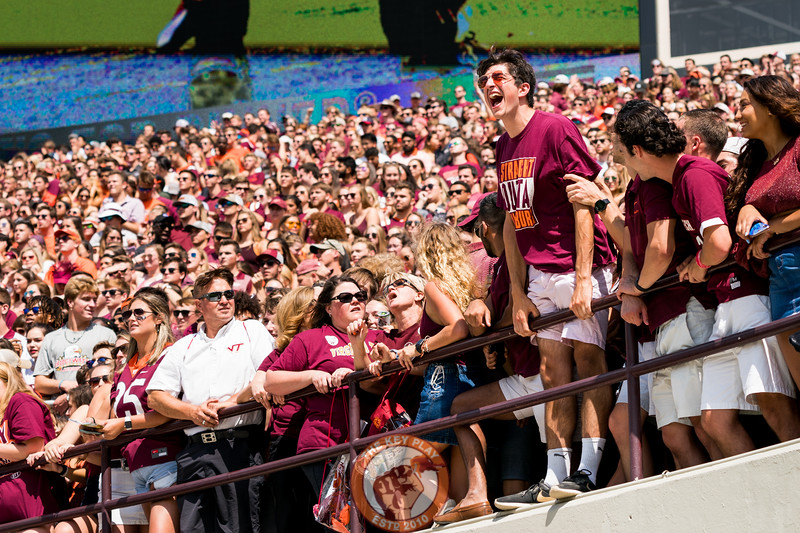 A fan yells from the student section at the game against Old Dominion University in Lane Stadium on Saturday, Sept. 7, 2019. (Photo: Cory Hancock)