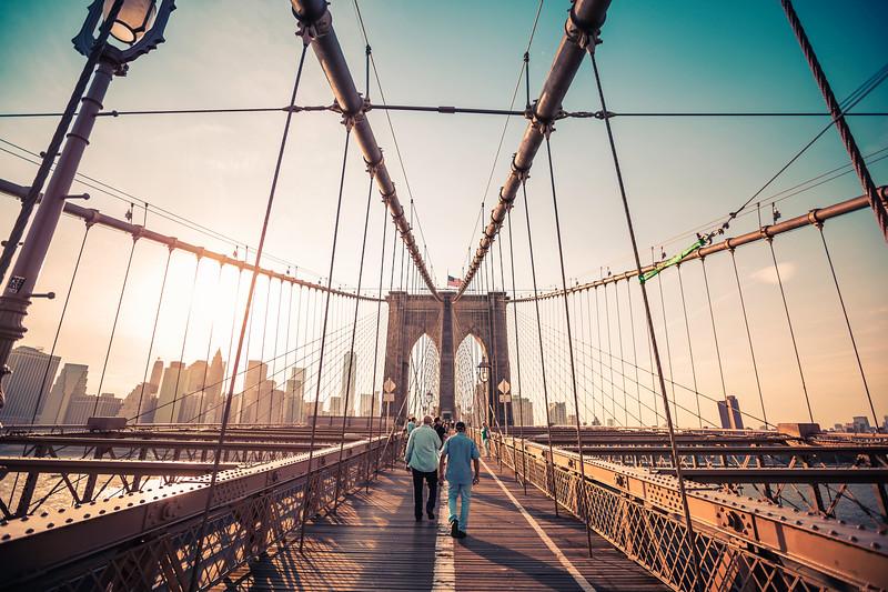 Sundown on the Brooklyn Bridge