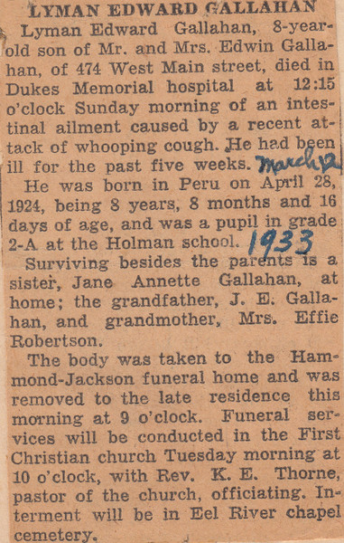 Newspaper Clipping - Obituary - Lyman Edward Gallahan - March 12, 1933.jpg