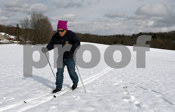 3/9/2017 Mike Orazzi | Staff Bill Klimkiewicz while cross country skiing at Nelson's Field in Bristol Friday afternoon.