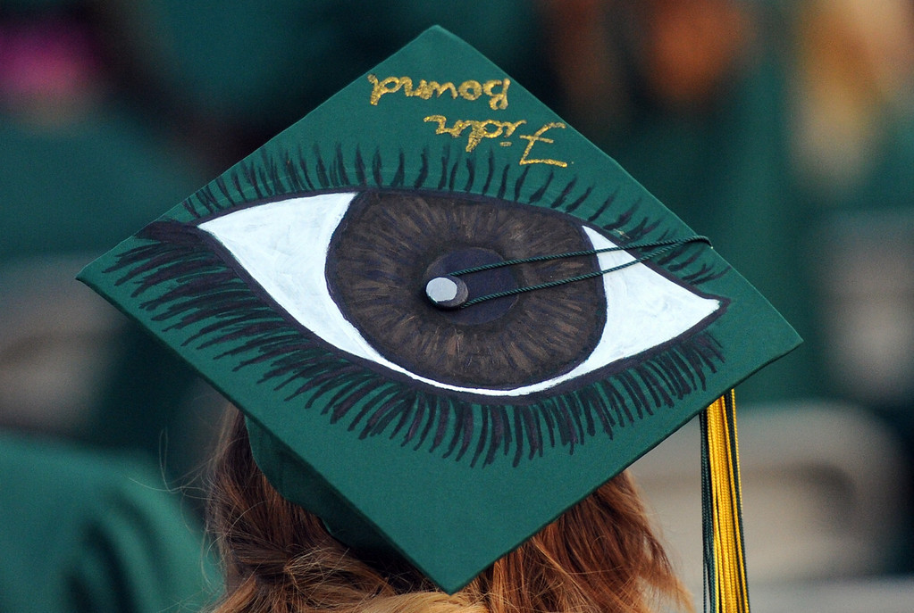 . One of many decorated caps during the South Hills High School commencement at Covina District Field on Wednesday, June 12, 2013 in Covina, Calif.  (Keith Birmingham/Pasadena Star-News)