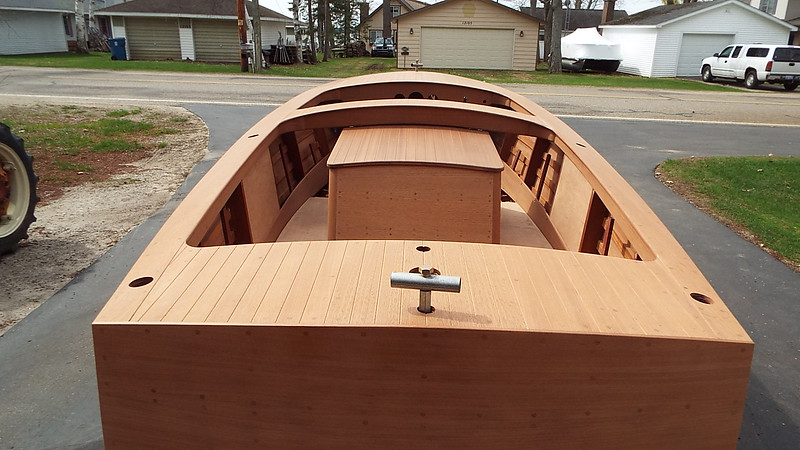 View of the rear deck looking forward outside.
