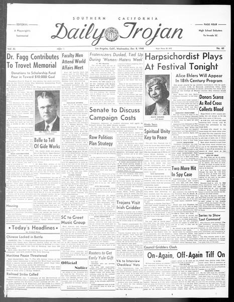 Daily Trojan, Vol. 40, No. 60, December 08, 1948