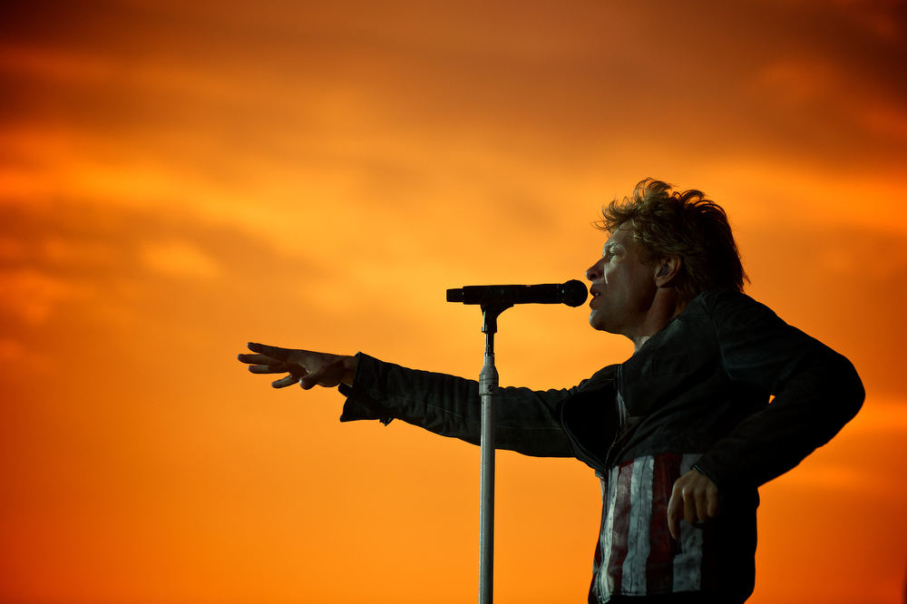 . May 17, 2013 - Jon Bon Jovi performs with his band Bon Jovi at Krieau Racetrack in Vienna, Austria on May 17, 2013.  (Photo credit: David Bergman / Bon Jovi)