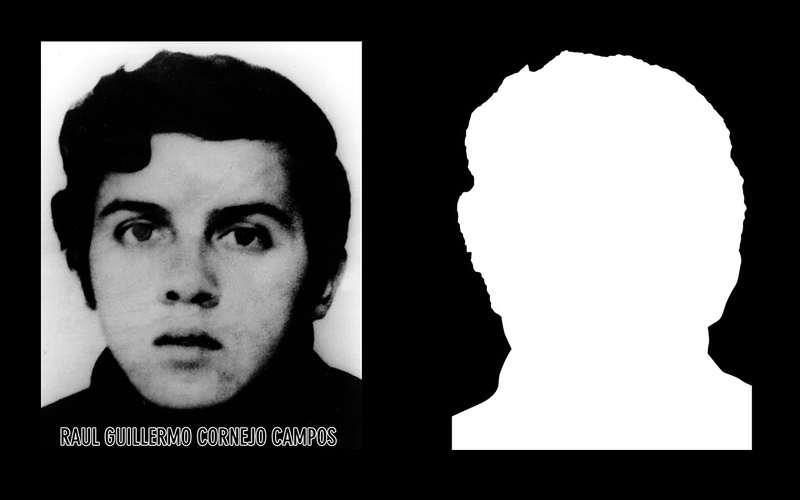 Photograph and silhouette of Raúl Guillermo Cornejo Campos Raúl Guillermo Cornejo Campos was 28 years old when he was detained and disappeared on the 16th of June of 1976 by agents of the DINA (National Intelligence Directorate) after a frustrated asylum attempt at the Bulgarian Embassy the day before.  *Shown here is the detail of the original photograph juxtaposed against its silhouette. (Courtesy Alfredo Jaar Studio) Information about Raúl Guillermo Cornejo Campos can be found inside the archives of the Museo de Memoria y Derechos Humanos (Museum of Memory and Human Rights).  The information presented here and more can be found online: http://www.memoriaviva.com/desaparecidos/D-C/cor-cam.htm