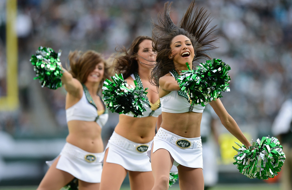 . New York Jets cheerleaders perform in the 1st half of the Jets game against the Buffalo Bills at MetLife Stadium on September 22, 2013 in East Rutherford, New Jersey. (Photo by Ron Antonelli/Getty Images)