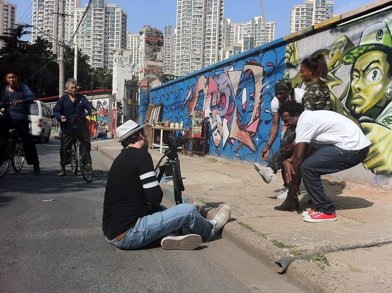 Shooting the 'Ugandan Soldier' video, 2013