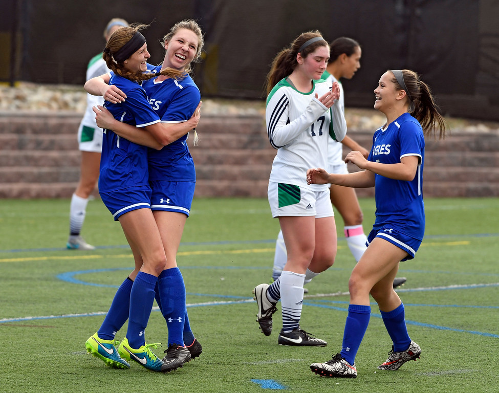 . HIGHLANDS RANCH, CO - MAY 18: Broomfield Hailey Stodden (19) celebrates her score against ThunderRidge with teammate Michaela Stark (24) during the first half in girls quarterfinals May 18, 2016 at Shea Stadium. (Photo By John Leyba/The Denver Post)