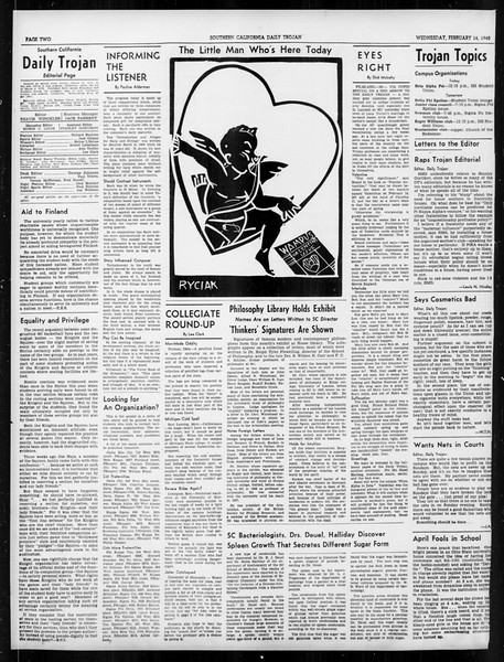 Daily Trojan, Vol. 31, No. 84, February 14, 1940