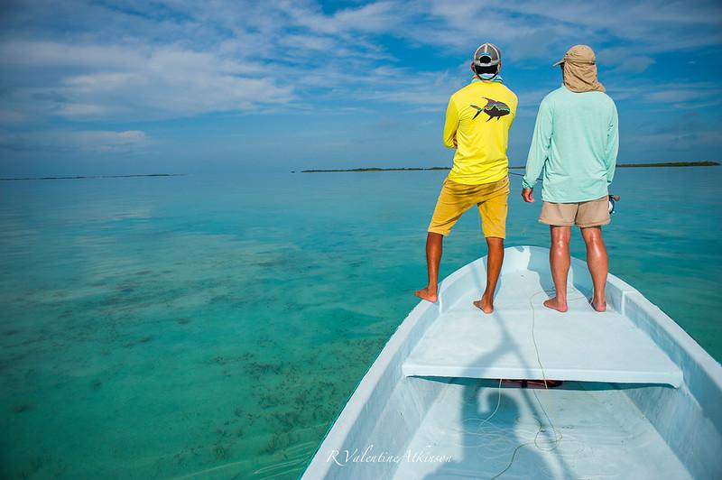 Murray Roberts and guides at palometa club, ascension bay, mexico. permit fishing.
