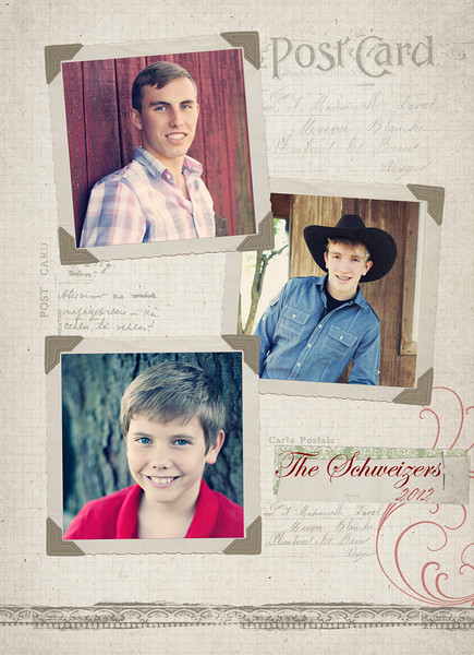 I love this template. I have not used it for anyone else so it will be unique. if you choose to print 5 by 7 back and front card I can order from a lab for you. It would be like ours from last year. Excellent quality paper. let me know if I can help in that way. Gosh, your guys are handsome...