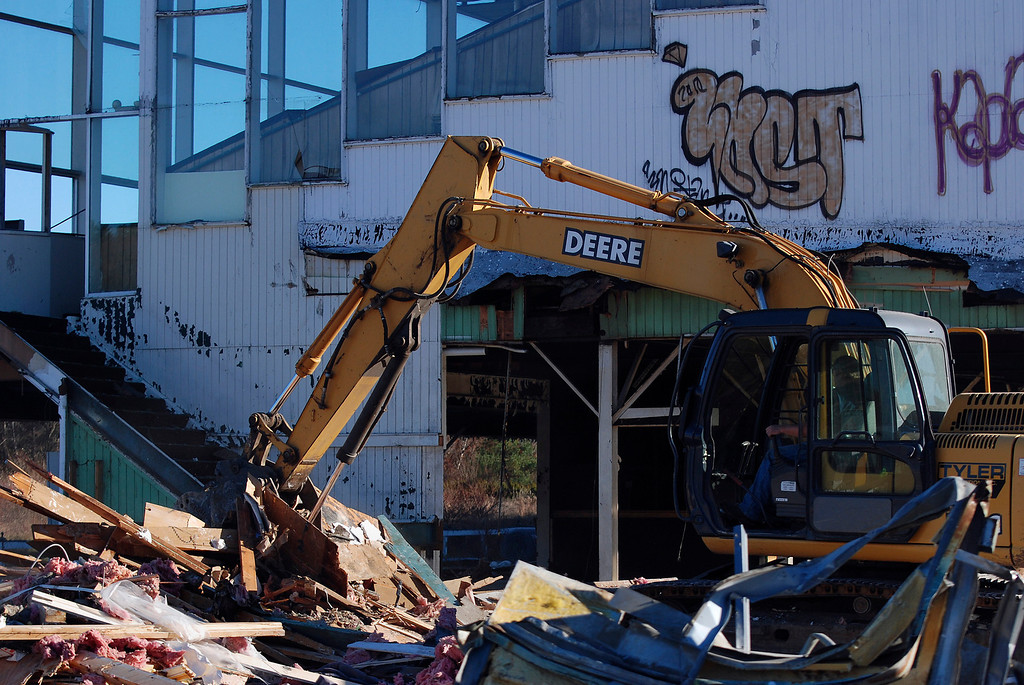 . Kayla Rice/Reformer Tyler Excavating works to demolish what was once Hinsdale Greyhound Park. The race track opened for horse racing in 1958 and closed in 2008 after transitioning to a greyhound race track.