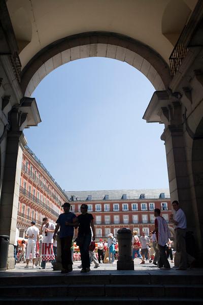 Framed view of Plaza Mayor, Madrid, Spain