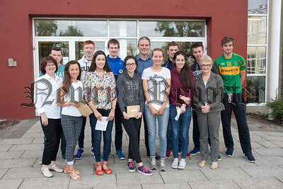 Some of the students at St Paul's Bessbrook who received their GCSE results. R1535004