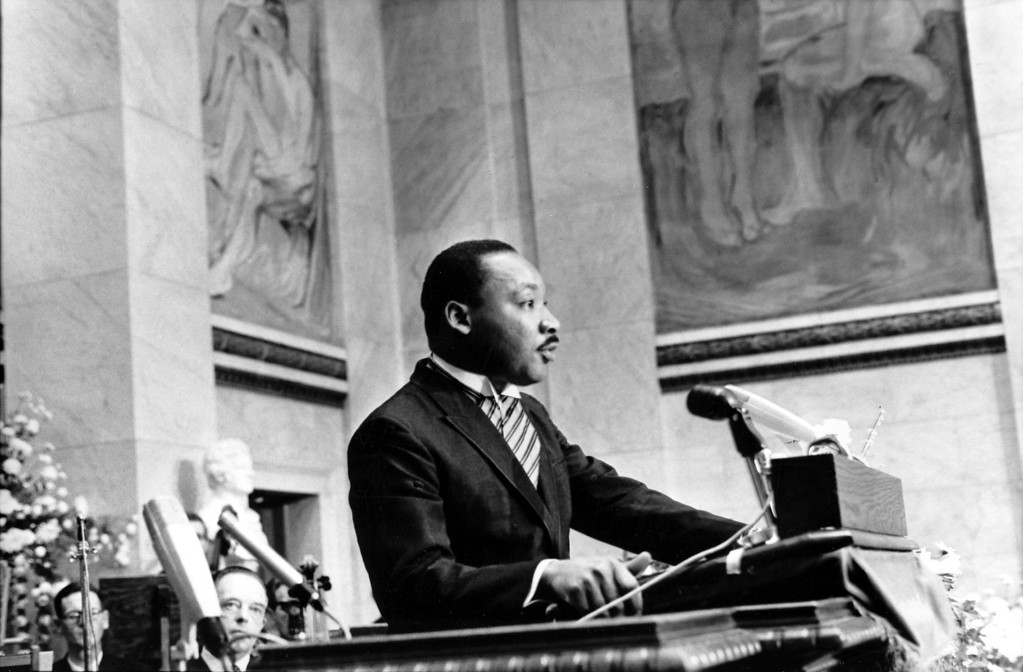 . The Rev. Martin Luther King Jr., delivers his Nobel Peace Prize acceptance speech in the auditorium of Oslo University in Norway on Dec. 10, 1964.  King, the youngest person to receive the Nobel Peace prize, is recognized for his leadership in the American civil rights movement and for advocating non violence. King was named winner of the Nobel Peace Prize on Oct. 14, 1964,   (AP Photo)