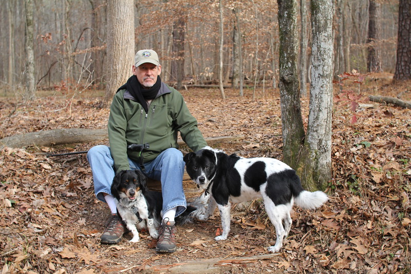 Ed with Tex & Bessie in the Triangle Land Conservancy 2014