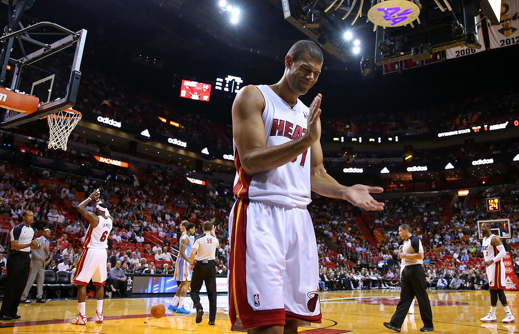 . MIAMI, FL - MARCH 14: Shane Battier #31 of the Miami Heat reacts to a play during a game against the Denver Nuggets at American Airlines Arena on March 14, 2014 in Miami, Florida. (Photo by Mike Ehrmann/Getty Images)