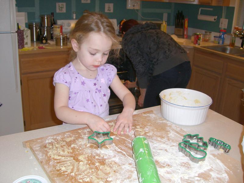Baking cookies.