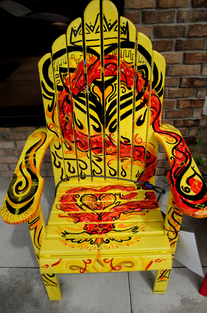 """. \""""The Power of Love\""""  chair by Ahmad Bennett is part of the Highway 8 Chairs project in Chisago County. (Pioneer Press: Jean Pieri)"""