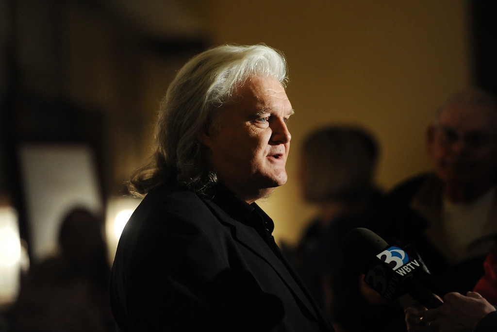 . Ricky Scaggs talks to the media before Billy Graham\'s 95th birthday party at the Grove Park Inn in Asheville, N.C., Thursday Nov. 7, 2013.  (AP Photo/The Asheville Citizen-Times,  Erin Brethauer)  NO SALES