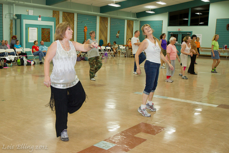 Debralee and Michelle dancing at Late Harvest Stomp, 2012.