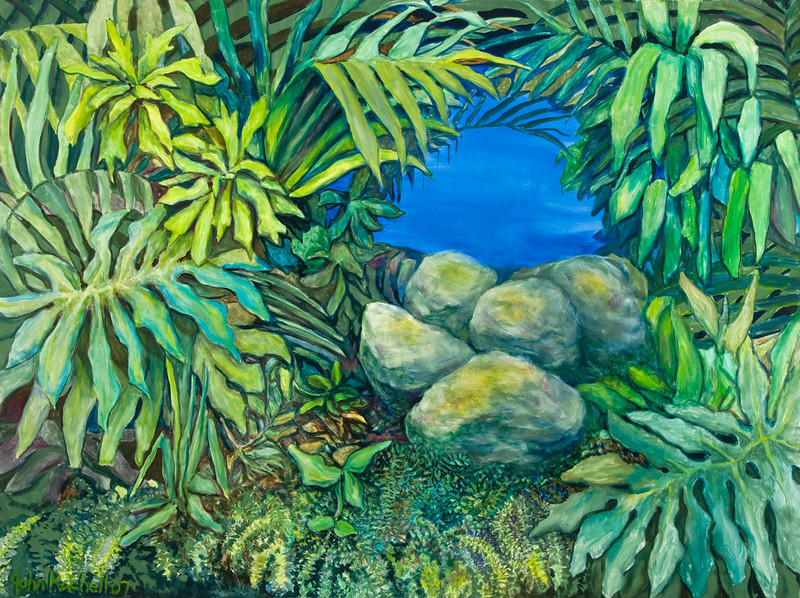 "© 2008 John Rachell Title: Garden, December 20, 2007 Image Size: 48"" w by 36"" d Dated: 2007 Medium and Support: Oils on canvas Signed: LL Signature"