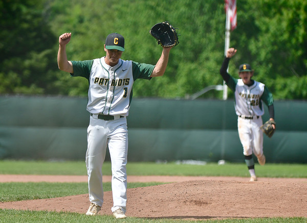 6/4/2019 Mike Orazzi | Staff Coventry's Cole Lalli (1) celebrates a win over St. Paul during the Class S Semifinal at Sage Park in Berlin Tuesday.